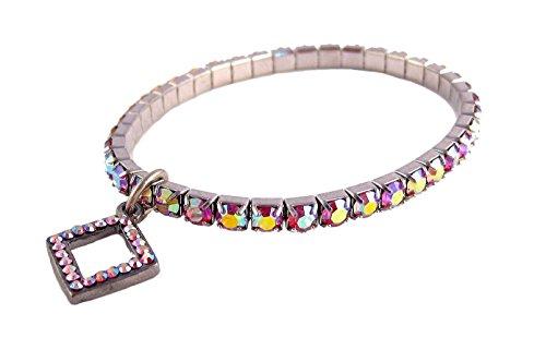 A-Ha Stretch Crystal Bracelet Iridescent Pink (B182)
