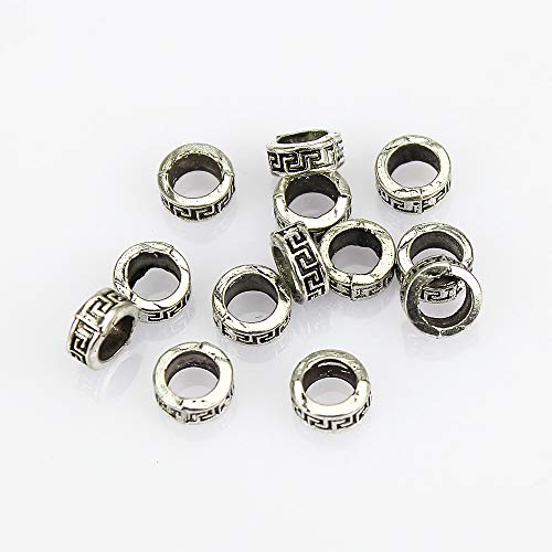 Bali Style Antiqued Silver Plated Large Hole Curve Pattern Spacer Beads 8 mm - 50 Pcs