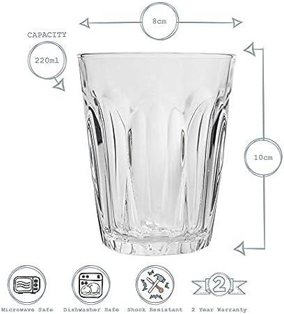 DURALEX 1039AB Provence Vidrio de agua sin marca de llenado, 220 ml, paquete de 6