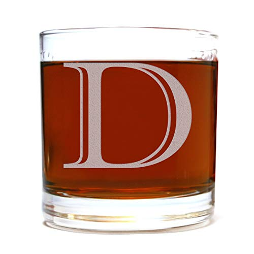 Etched Monogram 10.5oz Rocks Old Fashioned Lowball Glass for Whiskey Scotch Bourbon (Letter D)