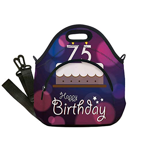Pepsi Candle - Insulated Lunch Bag,Neoprene Lunch Tote Bags,75th Birthday Decorations,Abstract Artistic Background with Graphic Cake Candles,Purple Magenta White,for Adults and children