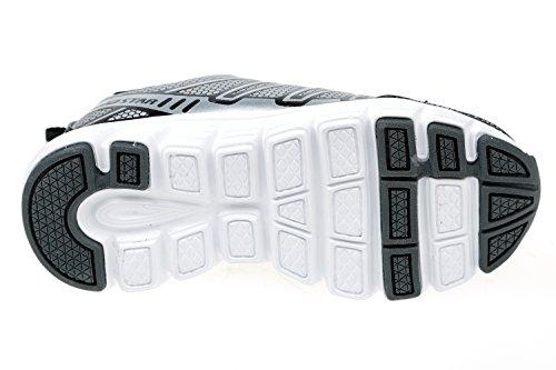 gibra® Niños Deportes zapatos, con cierre de velcro, color negro/plata, talla 25–36 negro / plata