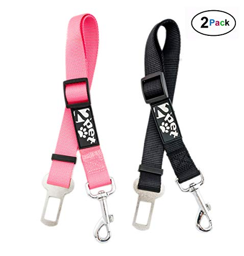 2PET Dog Seat Belt Strap Adjustable - Dog Car Seatbelt for All Dog Breeds & Sizes - Fits Seatbelt Latches of Most Car Makes Buckles- 21' to 32' Dog Seatbelt - Cheerful Pink, Pack of 2