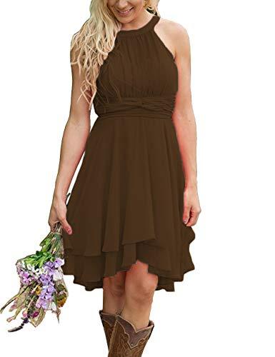 XingMeng Short A Line Halter Chiffon Prom Homecoming Bridesmaid Dresses Brown US 4