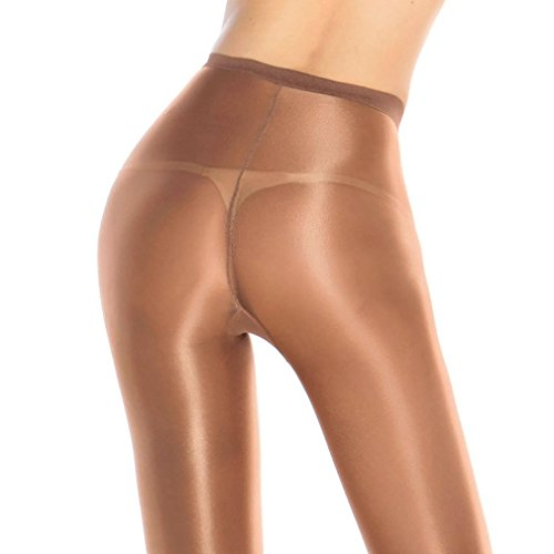 2 Pairs Shaping Socks Oil Socks Shiny Silk Stockings Pantyhose Dance Tights (Champagne 2) by RICHTOER (Image #2)