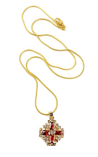 Gold Plated Jerusalem Cross Pendant Necklace Red Garnet and Zircon Gems 0.7