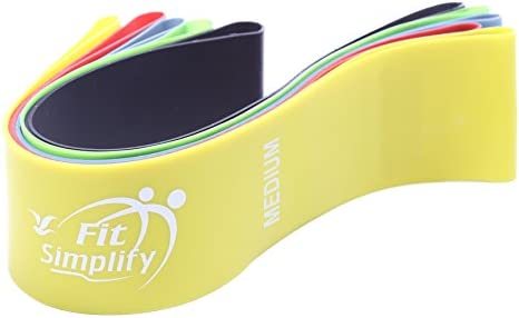 Fit Simplify Resistance Loop Exercise Bands for Home Fitness, Stretching, Strength Training, Physical Therapy, Workout Bands, Pilates Flexbands, Set of 5
