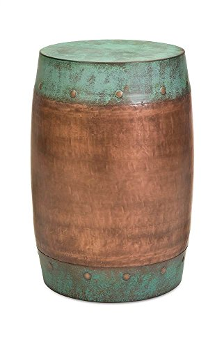 IMAX Rania Copper-Plated Stool - Drum Style Stool, Decorative Accessory, Home Decor. Home Bar Furniture from Imax