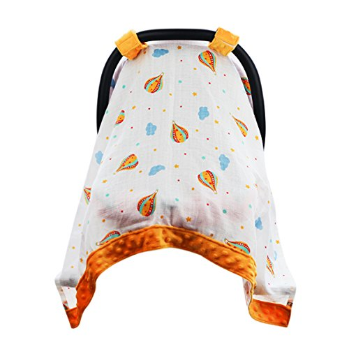 Hi Sprout Breathable Cotton Muslin Canopy Car Seat Cover, Windproof Minky Dot Embellishment, for Girls and Boys (Hot air Balloon) - Hot Air Balloon Cover