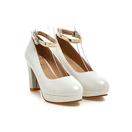 Shoes Closed Women's WeiPoot White Round Buckle Solid Toe Heels High Pumps PU x7qIqSZv