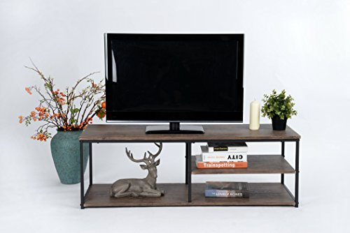 Vintage Dark Brown / Black Metal Frame Modern Television Plasma LED TV Entertainment Stand with Shelves