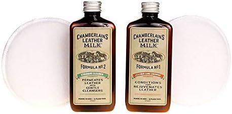 Chamberlain's Leather Milk - Nr. 1-2 - Set aus Leder-Conditioner & Reiniger - Naturbasis/ungiftig - 2 Auftragepads 2 Größen - 0.18 L