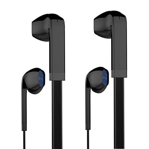 Earbuds, MXditect 2 Pack Headphones with Mic Stereo Earphones for iPhone Android Windows Black