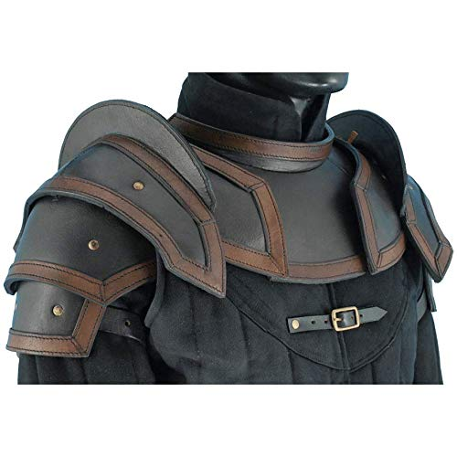 Armor Venue: Leather Shoulder Armor Pauldrons with Neck Guard Gorget Black Large
