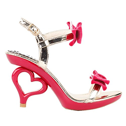 SHOW STORY Red Gold Double Bows Strappy Open Toe Dancing Women Bride Wedding Sandals,LF60807RD40,8.5US,Red Double ()