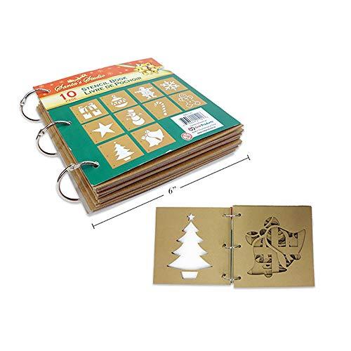 Santa's Studio Christmas Holiday Theme Craft Stencil Book - 10 Page Book - Assorted Holiday Season -