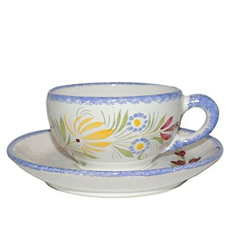 Quimper Hb Henriot (Quimper Fleuri Royal Tea Cup & Saucer)