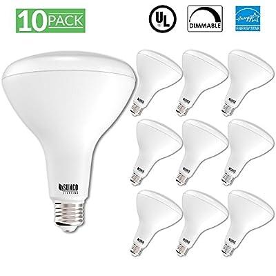 Sunco Lighting 10 PACK - BR40 LED 17WATT (100W Equivalent), 3000K Warm White, DIMMABLE, Indoor Lighting, 1400 Lumens, Flood Light Bulb- UL & ENERGY STAR LISTED