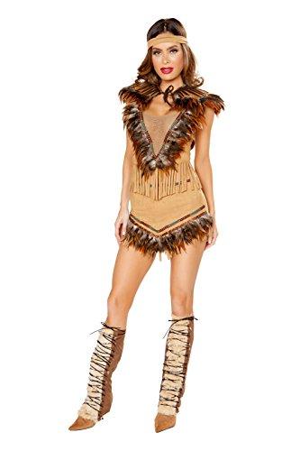 Fest Threads 3 PC Native American Girl Tan Mesh Crop Top & Skirt w/Headband Costume