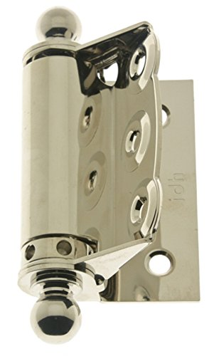 (IDHBA 80320-014 Professional Grade Quality Solid Brass Half Surface Adjustable Spring Screen Door Hinges with Ball Finials (Pair) Bright Nickel)