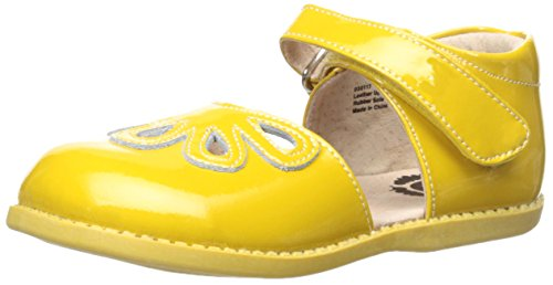 Livie & Luca Girls' Petal Mary Jane Flat, Yellow, 13 Medium US Little Kid (Footwear Patent Yellow)