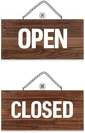 two-face オープン クローズ 看板 OPEN CLOSED 木製 国産杉 プレート サイン (ダークブラウン)