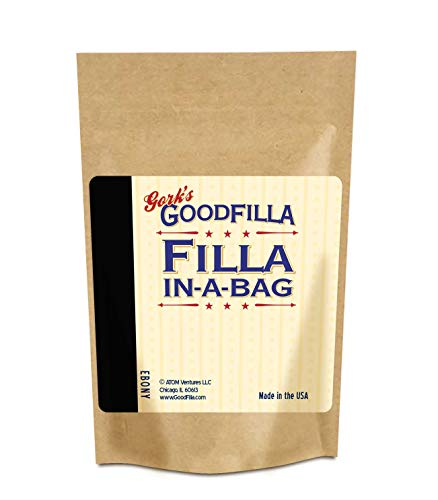 Wood Filler & Putty Powder - Innovative Formula - Filla-In-A-Bag - Ebony - 12 oz By Goodfilla   Repairs, Finishes & Patches   Paintable, Stainable, Sandable & Quick Drying   Zero Waste