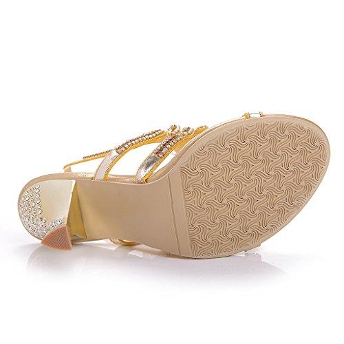 Meijili - plataforma mujer , color Dorado, talla 40