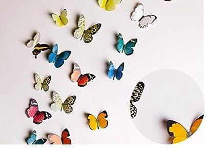 Kakuu 36PCS Butterfly Wall Decals - 3D Butterflies Wall Stickers Removable Mural Decor Wall Stickers Decals Wall Decor Home Decor Kids Room Bedroom Decor Living Room D¨¦cor