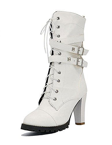 Maybest Womens Ladies Mid Calf Boots Fold Over Long Stretch Winter Leather Shoes Knee Long Block High Heel Boots Sexy Fashion Casual White 9 B (M) US