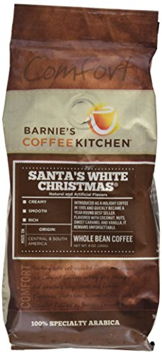 Barnie's CoffeeKitchen Whole Bean Coffee, Santa's White Christmas, 9 Ounce