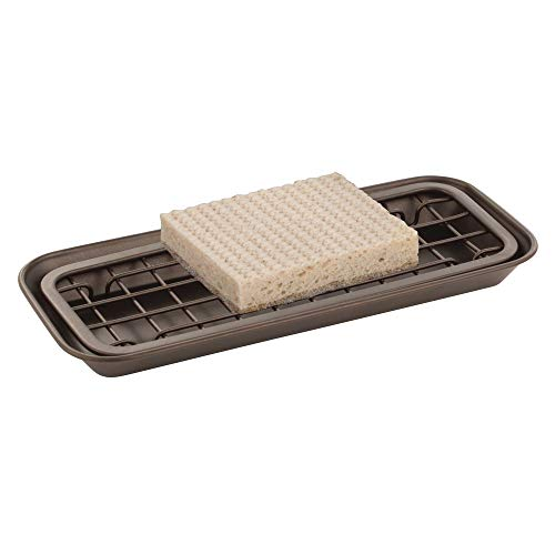 mDesign Metal 2-Piece Sink Tray Caddy for Kitchen Countertops - Removable Grid Insert for Sponges, Scrubbers, Bar Soap, Cleaning Tools - Drainage Grid with Tray