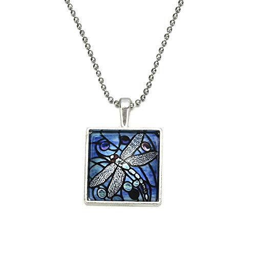ERAWAN Blue Dragonfly Insect Spring Garden Glass Tile Pendant Silver Necklace Jewelry EW sakcharn ()