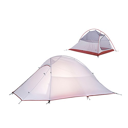Naturehike 2 Person Outdoor Camping Double-layer Backpack Tent Dome Waterproof Tent(Gray(20D Silicone Fabric)
