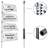 Sports Flags Pennants Company Tailgating Portable Telescoping 23 Foot Flagpole