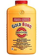 Gold Bond Medicated Original Strength Body Powder, 283g - Temporary Relief From Pain, Itching & Minor Skin Irritations - Absorbs Moisture - For Home, Gym, Before/After Work, or Anytime - For Adult Use