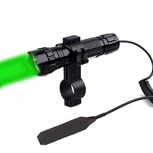 Linterna de WindFire®, resistente al agua, con luz LED verde de CREE, con botón de encendido a presión y una montura de objetivo para caza (pilas no incluidas) Linterna de WindFire®