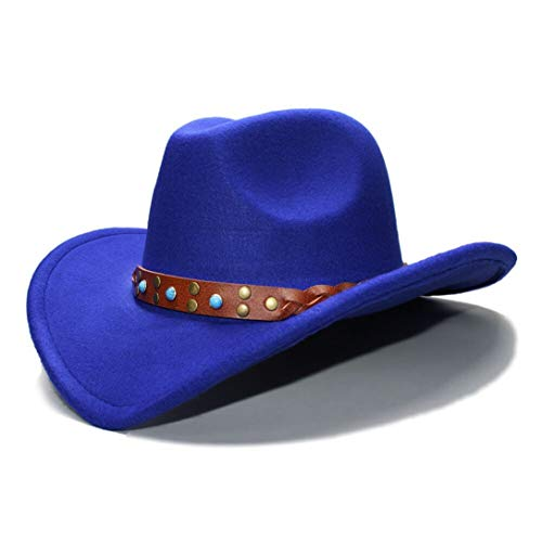 Unisex Western Cowboy Hat Wide Brim Felt Hat Cowgirl Braid Leather Band Fedoras Hat Blue