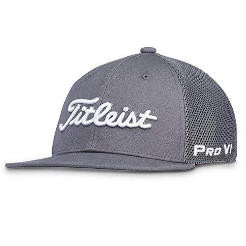 Titleist Junior Golf Hats (Sports Mesh, Tour Performance, Surf Stripe, Performance Visor) (Junior Tour Flat Bill Mesh, Charcoal/White)