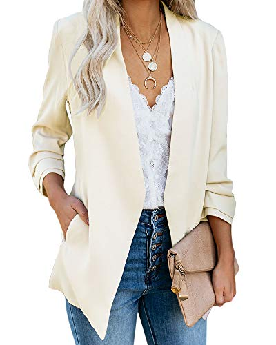 Ofenbuy Womens Casual Blazer Ruched 3/4 Sleeve Open Front Relax Fit Office Lightweight Cardigan Jacket Blazers Beige