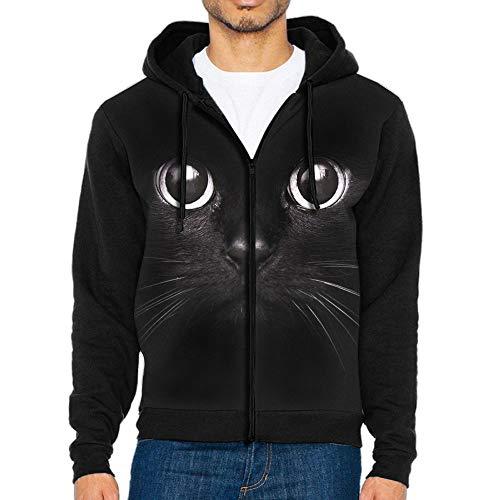 (Unique Big Black Cat Zip Up Hoodie Long Sleeve Pullovers Hooded Active Sweatshirts Hoodies)