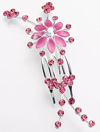 Two Silver Tone Pink Mermaid And Red Roses Hair Combs
