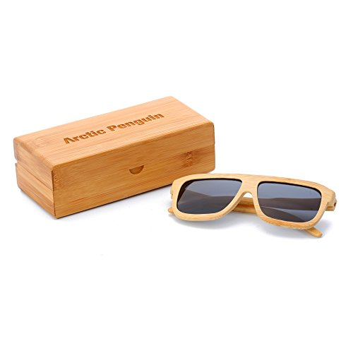 Arctic Penguin Bamboo Wood Polarized Wayfarer Sunglasses For Men and Women With Bamboo Box (Bamboo, - Sunglasses Very Dark Tint