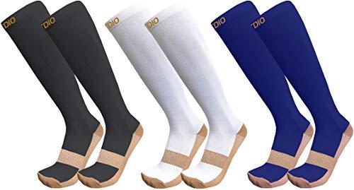 Plus Size Wide Calf 15-20mmHG 3-Pairs Graduated Copper Compression Socks For Men & Women