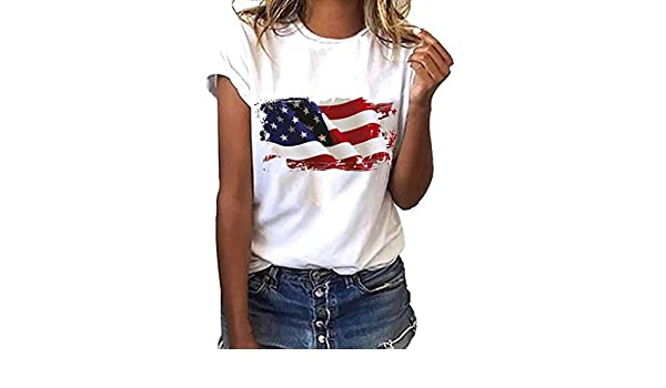ac51031eaf79 Amazon.com: Euone 4th of July Tops, Women Plus Size National Flag  Independence Day Print Short Sleeve T-Shirt Tops: Toys & Games