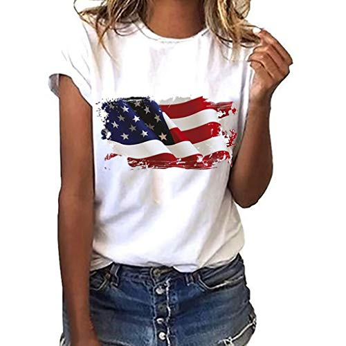 Womens T-Shirt Summer Patriotic American Flag Tunic Tops Short Sleeve USA 4th of July Blouse White