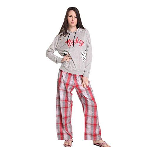 Purple Leisure Suit Adult Costumes (DMMSS Ladies Home Service Cotton Long Sleeves + Trousers 2-Piece Pajamas Large Size Leisure Suit Pajamas , Grey , L)