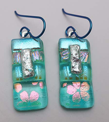 Aqua Lagoon fused dichroic glass earrings peach flowers patchwork Niobium ear wires #246