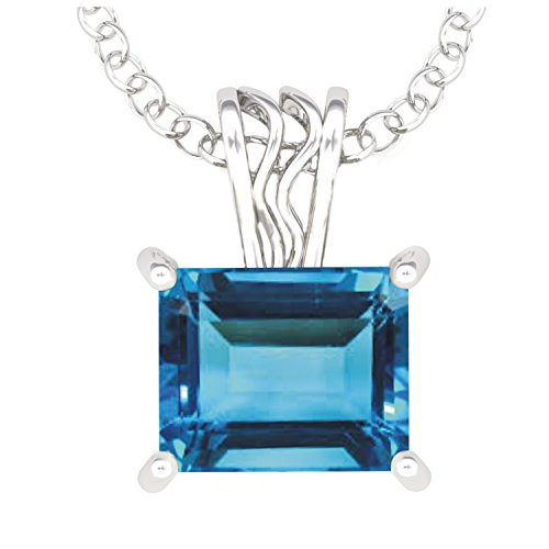 Solid Sterling Silver 3 Carat Baguette Sky Blue Topaz Necklace with 17.5 Inch Anchor Chain for Women, High Polished Pendant Necklace -