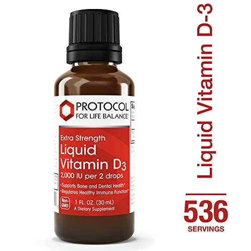 Protocol For Life Balance - Liquid Vitamin D-3 2,000 IU / 2 drops - Extra Strength Formula Supports Calcium Absorption, Bone and Dental Health, and Immune Function in Easy Drops - 1 fl. oz. (30 mL)